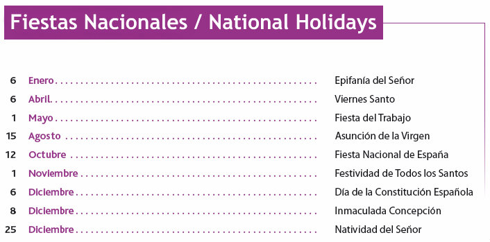List of spanish holidays spanish bank holidays and other useful