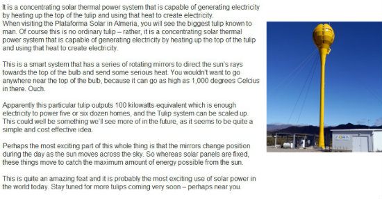 Tulip Concentrated Solar Power Plant